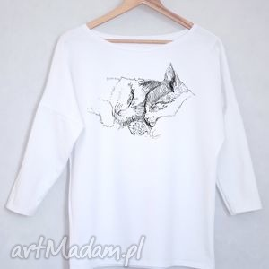 KOTY bluzka bawełniana oversize S/M biała, bluzka, bluza, koszulka, koty,