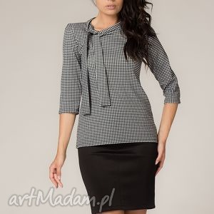 Bluzka eliza bluzki tessita elegancka, pepitko, pepitka, krawat