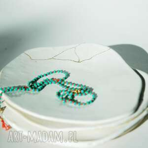 talerzyk do biżuterii złota nić biały, podkładka, biżuterii, na biżuterię