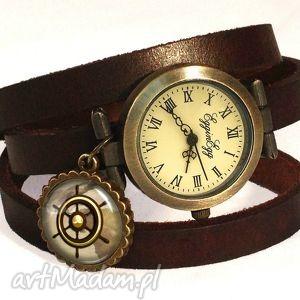 handmade zegarki ster - zegarek/bransoletka na skórzanym pasku