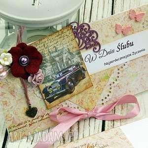 kopertówka ślubna - limuzyna - ślub, ślubna, wesele, kartka