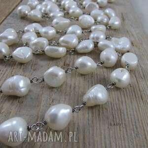 Nieregularne perły - długi naszyjnik naszyjniki irart perły