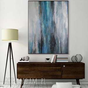 abstrakcja w szarościach -obraz akrylowy formatu 50/70 cm, obraz, abstrakcja, akryl