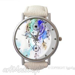 dreamcatcher - skórzany zegarek z dużą tarczą - zegarek, dreamcatcher