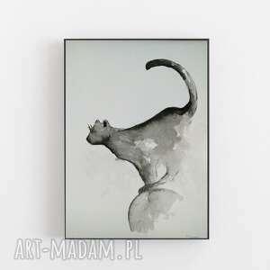 skaczący kot-akwarela formatu a4, akwarela, abstrakcja, kot