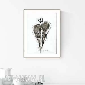 grafika A4 malowana ręcznie, minimalizm, abstrakcja czarno-biała, ,