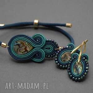 komplet biżuterii sutasz z muszlą paua, sznurek, morskie, granatowe, elegancki