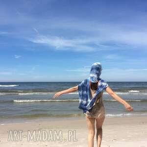 Lniany szal niebieski&biel szaliki anna damzyn szal, szalik, ręcznie barwiony, lniany,