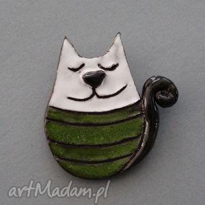 kiciuś-broszka ceramiczna, prezent, wielbiciel, kolekcjoner, święta, kot