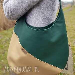 Duża torba zieleń ze złotem na ramię musslico torba, kobieta
