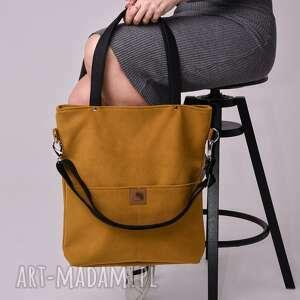 torebki torba z wodoodpornego nubuku w kolorze musztardowym, musztardowa torebka