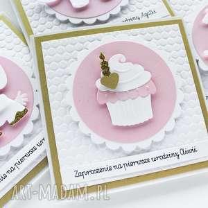 zaproszenie na urodziny, roczek - babeczka, zaproszenie, zaproszenia
