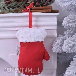 rękawica świąteczna czerwona, rękawica-świąteczna, dekoracje-świąteczne, święta