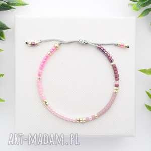 bransoletka koralikowa minimal - glossy pink, bransoletki, koralikowe, modna