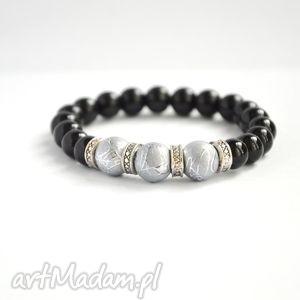 bracelet by sis elegancka bransoletka z czarno szarych korali, czarny, szary
