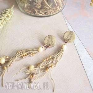 kolczyki boho z odciskiem liścia, boho, bohemian, gyspy, wiszące