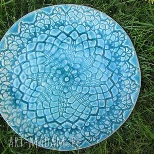 turkusowa ceramiczna patera, talerz, ceramiczny, koronkowa, koronkowy, turkus dom
