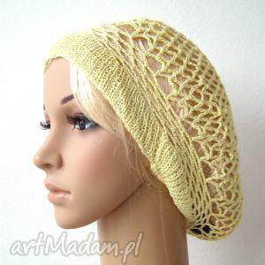 wiosenno-letni ażurowy beret jasnożółty, beret, berecik, czapka, czapeczka, ażur
