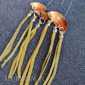 miedziane kolczyki z żółtymi chwostami - k26
