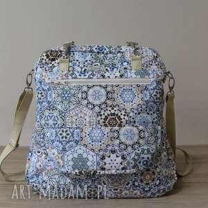 plecak torba listonoszka - heksagony beżowe, plecak, nowoczesna, szkoła, prezent