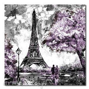 miasto paris paryż 3 - 80x80cm obraz na płótnie, obraz, paryż, fiolet