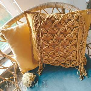 poduszka dekoracyjna makrama pleciona boho 50/50cm, poszewka pleciona