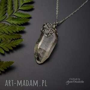 handmade wisiorki wisiorek talizman surowy kryształ górski stal chirurgoczna, wire