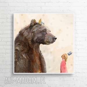 obraz na płótnie księżniczka i miś 100x100 cm, obraz, dzieci, miś