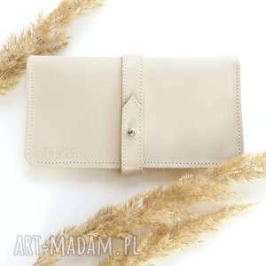 portmonetka na karty i dokumenty z paskiem, portfel, skóra, rękodzieło