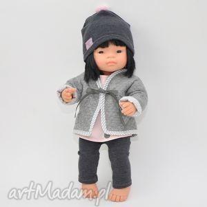 Zestaw szara kurteczka czapka Miniland, ubranka, lalki,