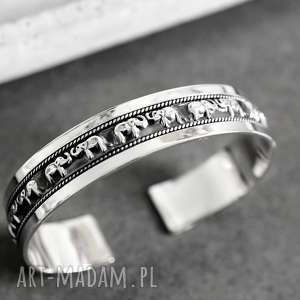 925 Srebrna bransoletka SŁONIE, słonie, srebro, srebrna, 925, orent, piękna