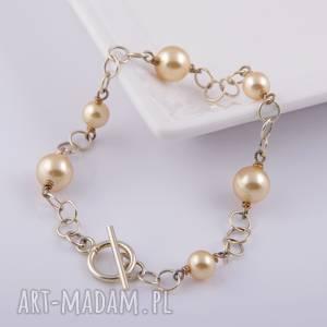 Bransoletka z beżowych pereł Swarovski - ,bransoletka,perły,swarovski,pozłacane,