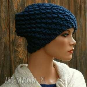 Czapka handmade nr 20 czapki hermina zimowa, na drutach, ciepła