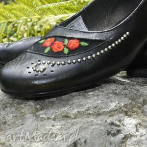 Balerinki z Haftem, góralskie, haftowane, róża, folkowe, czarne, ludowe