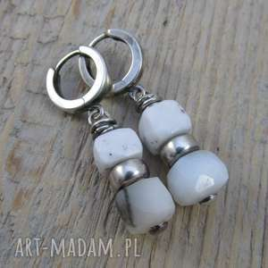 Kolczyki z bryłek opalu dendrytowego, opal, srebro, kolczyki