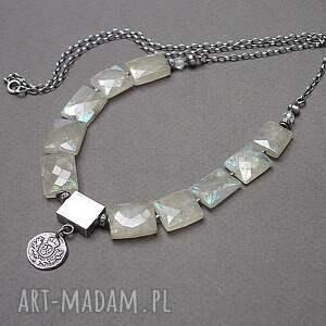 naszyjniki herbowy /chryzopraz/ - naszyjnik, srebro, kamienie, minerały