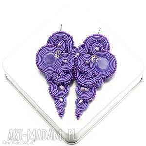 kolczyki rosaline violet soutache, długie, modne, sutasz, rękdzieło