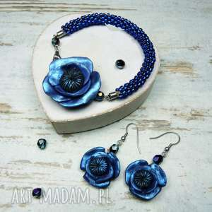 Prezent Komplet biżuterii granatowe maki , maki, kwiaty, oryginalna, prezent, lato