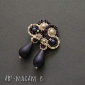 fioletowo-kremowe kolczyki sutasz, sznurek, wyjściowe, delikatne, eleganckie