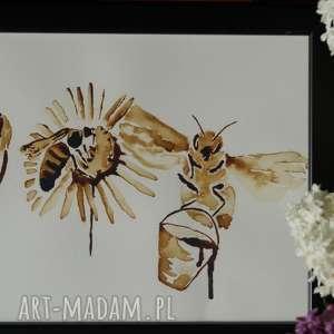 Trzy pszczoły robotnice - obraz kawą malowany, coffepainting, kawa, obraz,