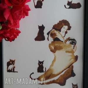 ręcznie zrobione obrazy kocia mama - obraz kawą malowany