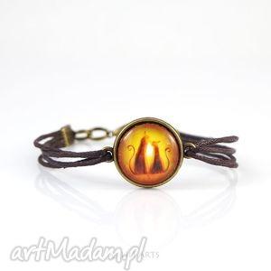 handmade bransoletka - kotki brązowa, antyczny brąz, sznureczki
