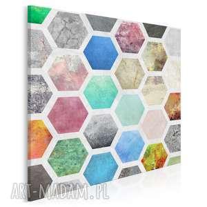 obraz na płótnie - kolorowy geometria w kwadracie 80x80 cm 40602, miód
