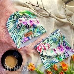 Komin i czapka w kwiaty beanie zestaw unisex, czapka, komin, bawełna, magnolia