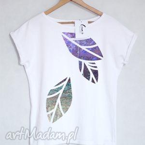 LIŚCIE koszulka bawełniana biała L/XL, liście, koszulka, t-shirt, bluzka, bawełniana,