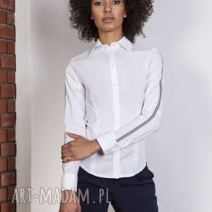 Koszula z lampasami, K109 ecru, koszula, klasyczna, lampasy, taliowana, kobieca