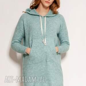 swetry dzianinowa sukienka - swe141 mięta, z dzianiny, sweter