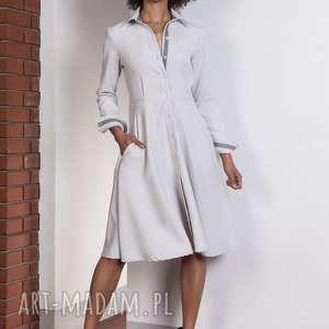Rozkloszowana sukienka, SUK151 szary, elegancka, klasyczna, rozkloszowana