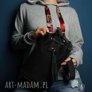 na ramię torebka skórzana worek - czarna z czerwoną podszewką, worek, rękodzieło