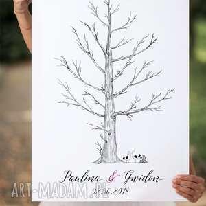 Eleganckie drzewo wpisów gości weselnych 50x70 cm 2 tusze księgi